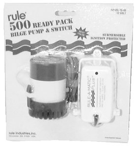 Rule 25-40A Submersible Bilge Pump with Rule-A-Matic Plus Float Switch, 500 GPH, 12 Volt Rule A-matic Plus Switch