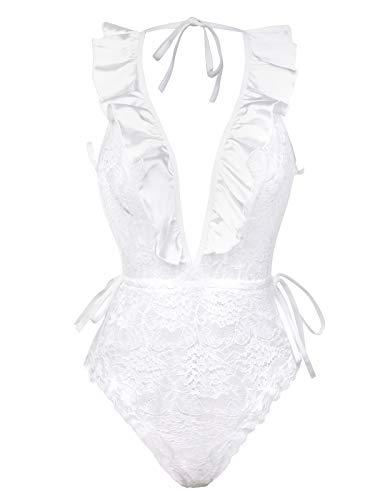 (Women's Deep V Ruffle Lingerie Plus Size White Teddy Lace Cup Babydool Sleepwear(R008,White,3XL))