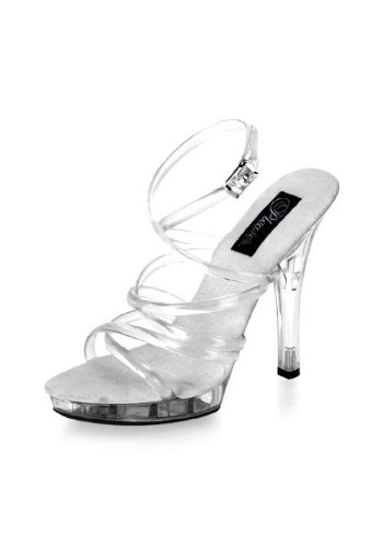 - Pleaser Women's Lip-106/C/M Platform Sandal,Clear/ Clear,8 M US