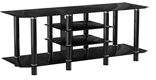 Gibson Living Salerno 60 Inch Glass TV Stand in Black