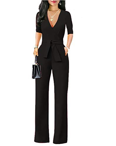 Chic-Lover Women's Elegant Solid Jumpsuit Wrap Top High Waisted Wide Leg Pants Jumpsuits Romper with Belt (Black, M) (Jumpsuit Wrap)