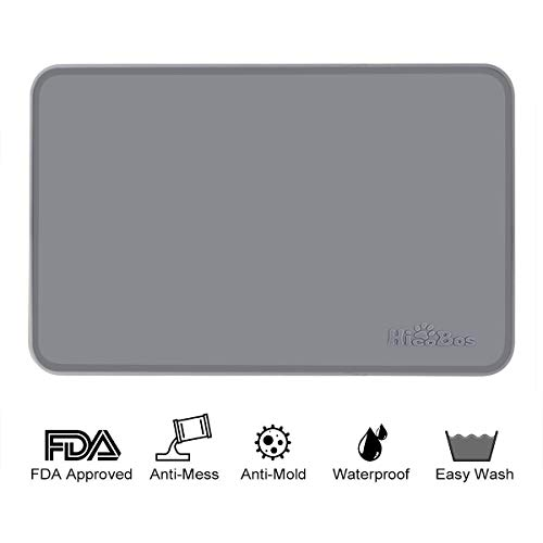 HICOBOS Dog Feeding Mat for Food Bowls Extra Thick FDA Silicone 23.7 x 15.8, High Border Anti-Mess Cat Placemat Tray for Food and Water, Non Slip, Waterproof & Pet Safe for Large Medium Small Pets