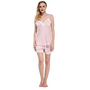 25be1a6f7 Syksdy Acolchado Marca Busto Sexy Mujer Pijama Establece Tiras Espagueti  Puntilla Flor Hermoso Sueño Femenino Pijamas Conjuntos Establece  Satin