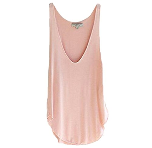 Candy Womens Pink T-shirt (XUANOU Woman Summer Sleeveless V-Neck Candy Color Vest T-shirt (Pink))
