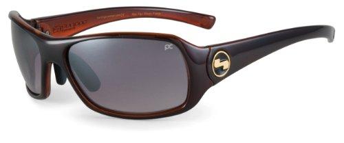 Sundog Paula Creamer Captiva Golf Sunglass (Deep Burgundy Crystal Frame/Gradient Smoke Flash Mirror Lens)