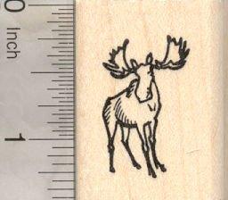Tiny Moose Rubber Stamp, North American moose, Eurasian Elk