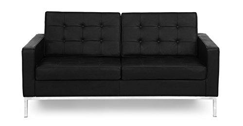 Kardiel Florence Knoll Style 100% Full Genuine Loveseat, Black Standard Leather - Sanded Loveseat