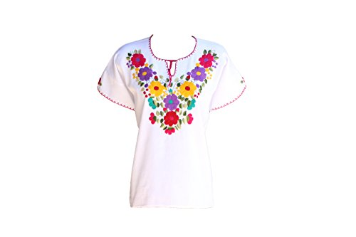 Mexican Embroidered Blouse (TABIK White Floral Authentic Mexican Peasant Blouse Embroidered Blouse (DotFlower))