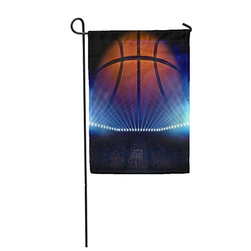Semtomn Garden Flag 28x40 Inches Print On Two Side Polyester Court Basketball NCAA Ball Basket College Hoop Stadium Fan Home Yard Farm Fade Resistant Outdoor House Decor Flag ()