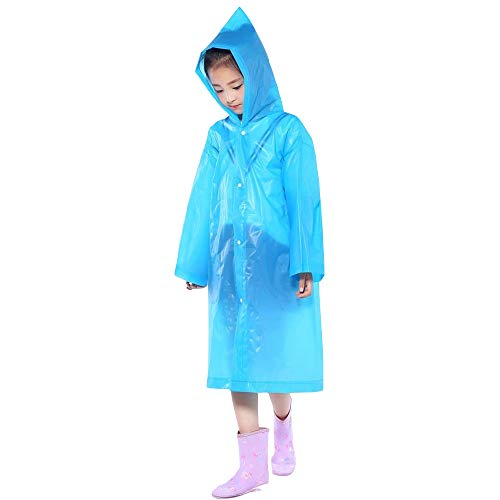 REYO Kids Jacket Portable Reusable Raincoats Children Windbreakers Rain Coat Ponchos for 6-12 Years ()