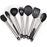 Cooking Utensil Setss- 8 Kitchen Utensils, Silicone & Stainless Steel Set- Serving Tongs, Spoon, Spatula Tools, Pasta Server, Ladle, Strainer, Whisk. Rice & Potato servers