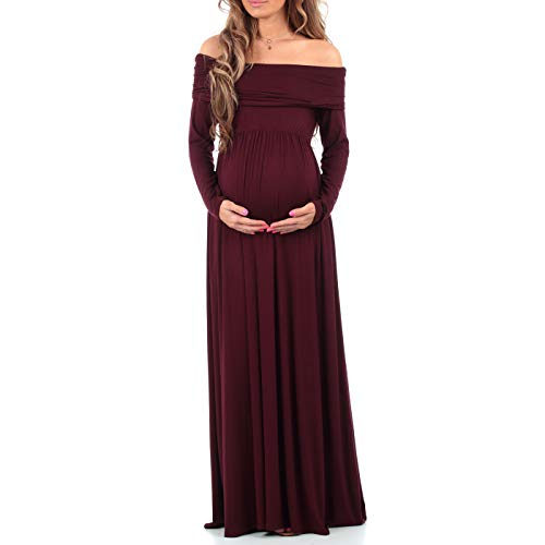 Womens Cowl Neck and Over The Shoulder Maternity Dress Plum Wine