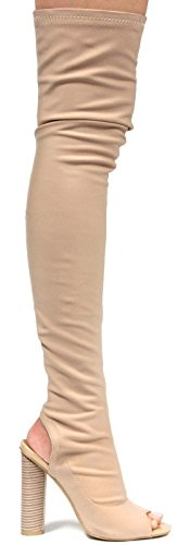 CAPE ROBBIN Connie-1 Womens Lycra Over The Knee Thigh High Peep Toe Boots (9, Nude) -