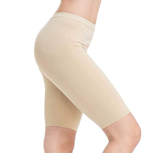 (MANCYFIT Slip Shorts for Women Smooth Short Leggings Half Mid Thigh Legging Sleek Undershorts Beige XX-Large)