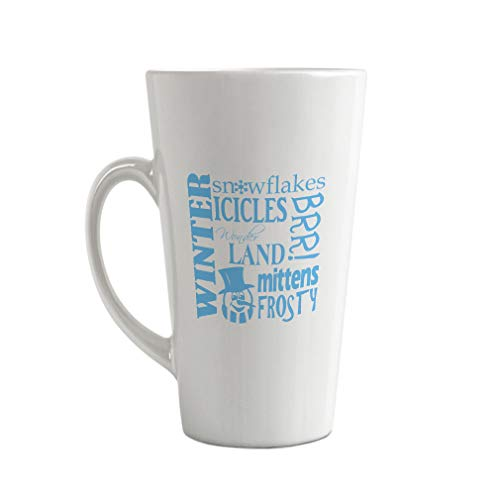 Style In Print Light Blue Winter Snowflakes Icicles Wonder Land Mittens Frosty Ceramic Latte Mug - 17 OZ