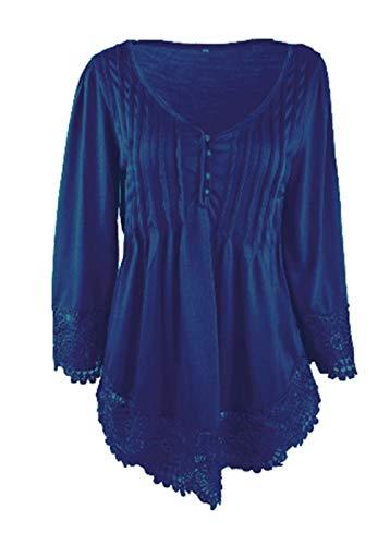 Elegante Prodotto 3 Baggy V Libero Unico Plus Merletto Bluse Camicetta Cucitura Magliette neck Vintage Manica Estivi Colore Donna Fashion Puro Del Tempo Blu Shirts 4 Primaverile 5AwIOO