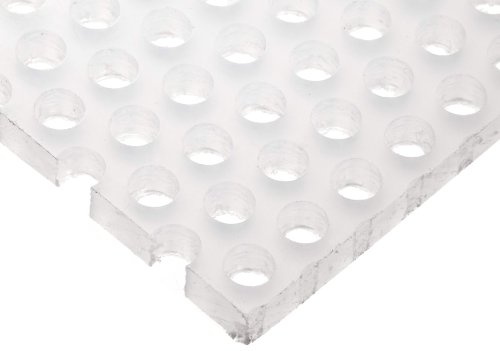 """Polypropylene (PP) Perforated Sheet, Straight Holes, Opaque White, 0.250"""" Thickness, 12"""" Width, 12"""" Length, Straight 1/4"""" Holes, 0.375"""" Center to Center"""