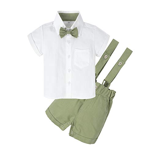 Green Months - BIG ELEPHANT Baby Boys'2 Piece T-Shirt Suspender Shorts Clothing Set NA42 Fruit Green