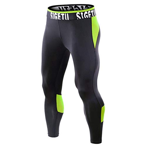 - Mens Summer Fitness Patchwork Bodybuilding Skin Tight-Drying Long Sports Pants, MmNote Green