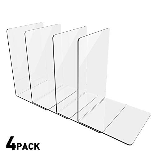 - 4 Pieces/2 Pairs Acrylic Bookends, Clear Bookends with Rounded Corner, Bookends Supports for Books, Magazines, Notebooks, CDs, Perfect for Office, School, Library, Transparent ...