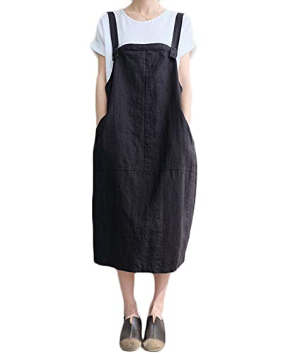 FLORHO Women Casual Strappy Pinafore Overalls Loose Midi Dress with Side Pockets Black 4XL