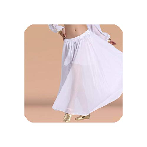 Belly Dance Costumes Sexy Senior Chiffon Split Belly Dance Skirt for Women Skirts,White,One Size -