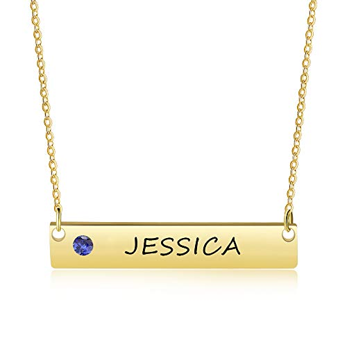 OPALSTOCK Personalized Bar Necklace Engraved Name Necklace BFF Necklaces for Wedding Bridesmaid Necklace (Gold with Birthstone)