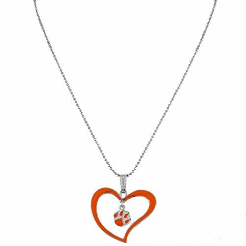 Pendant Paw Heart Clemson Tigers (Sports Team Accessories Clemson Tigers Orange Logo Heart Necklace)