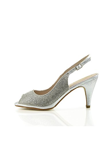 Kick Footwear Womens Wedding High Heels Fashion Shoes Silver IHA9CEo4