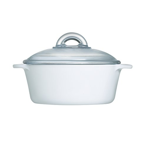 Luminarc Robin Shea Casserole with Lid (Set of 1), 1 L/1 quart, White