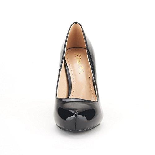Wedding ROMA DREAM Tiffanny Rhinestone pat Shoes Women's black PAIRS Platform Low Glitter Bridal Party Pump Heel 1 x5FSXwF