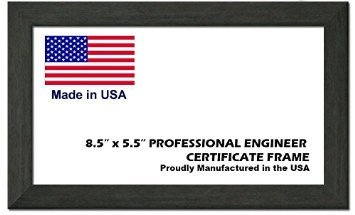 Professional Engineer License Certificate Wood Frame - 8.5 x 5.5 Inches - Charcoal Grey Wood