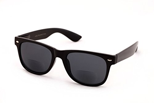 Classic Bifocal Outdoor Reading Sunglasses - Comfortable Stylish Simple Readers Rx Magnification (Black Lens, 2 x)