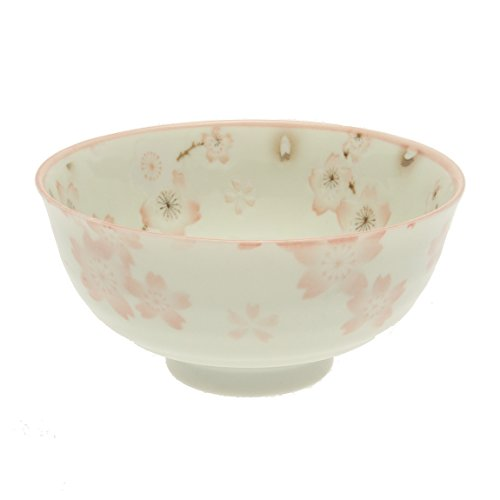 2 Pc Japanese Pink Lang Flwrs Rice Bowl Set Includes 2 Bowls