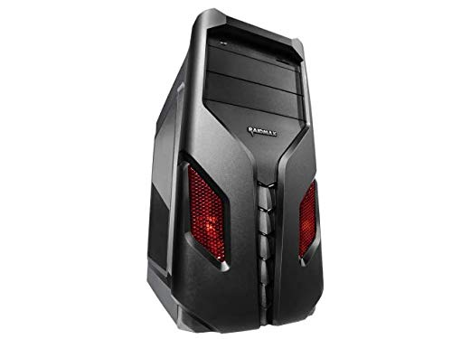 Raidmax EXO Gaming Computer PC Case with Side Window and Front Color Mesh (RED) (Raidmax Computer Case)