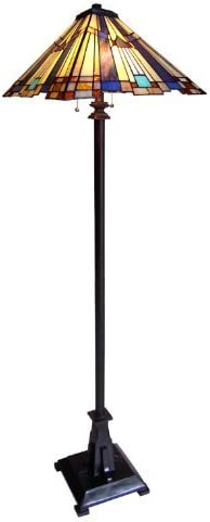 Chloe Lighting CH23004A-FL2 Tiffany-Style Mission 2-Light Floor Lamp