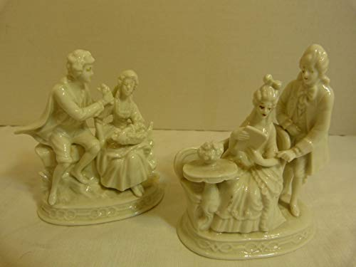 - Capodimonte Set of Two (2) Vintage White Porcelain Figurines of Nobility Courting Couples with Crown N Mark Made in Germany