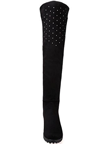 BIGTREE Botas sobre la rodilla Mujer Casual Otoño Invierno Brillante Rhinestones Cómodo Planas Sintética Ante Botas largas De Negro