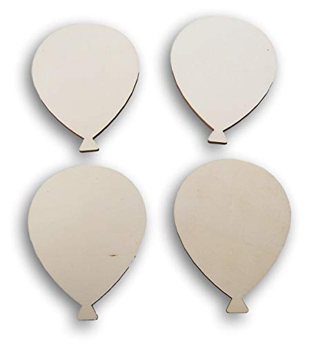 Natural Unpainted Wood Cutout - Balloon Shape - Set of -