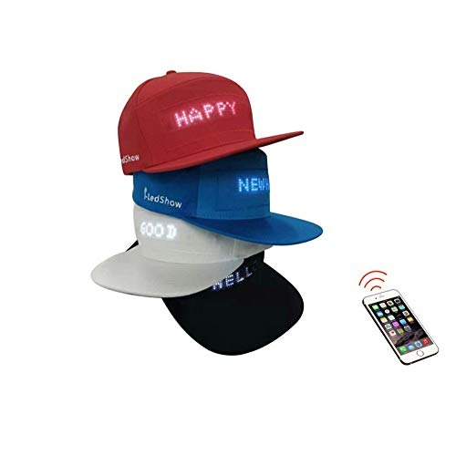 AMamingJ LED Smart Cap, APP Controlled Display Screen LED Hat Bluetooth Control Hat for The Club Halloween Christmas hat Black]()