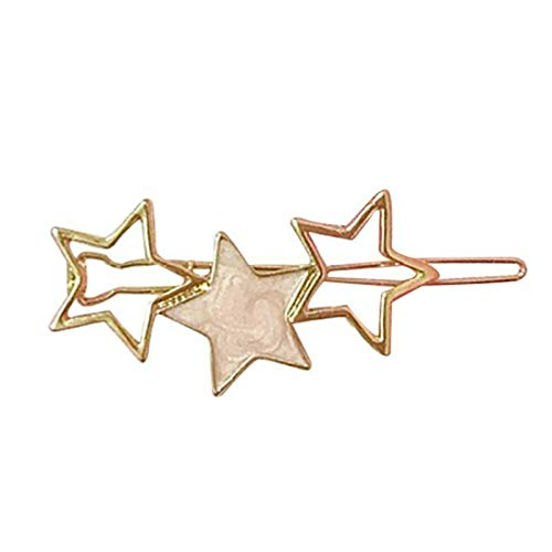 Round Five-Pointed Star Alloy Hair Clips Barrette Fresh Hairpin Hair Ornament (Model - Beige Star) ()