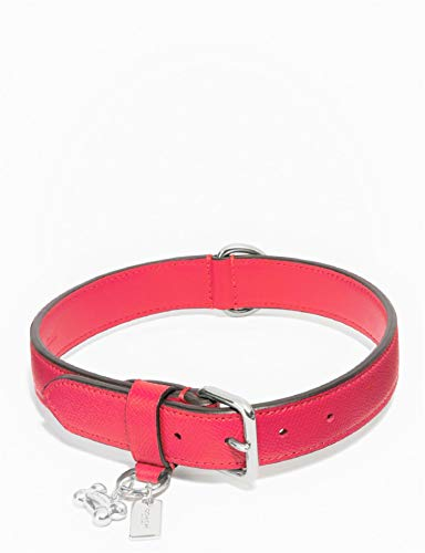 Coach Large Leather Pet Collar, Red Silver