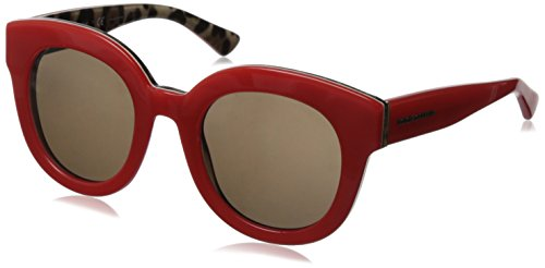 D&G Dolce & Gabbana Women's 0DG4235 Round Sunglasses,Top Opal Lobster/Leopard,49 - Sunglasses Lobster