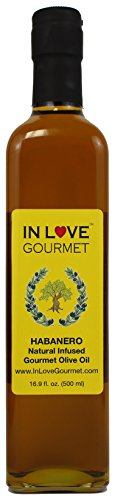 In Love Gourmet Habanero Natural Flavor Infused Olive Oil 500ML/16.9oz Spicy Habanero Oil, Spice up your Fish, Chicken, Veggies, & Pastas.