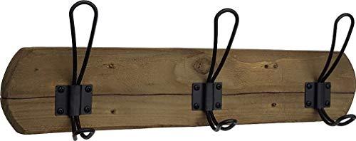 Acacia Grove Rustic Wall Mounted Coat Rack - 3 Black Hooks