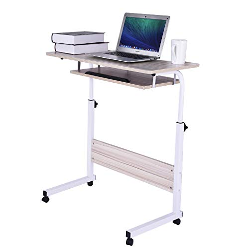shamoluotuo Overbed Table Height Adjustable Over Bedside Home Desk Laptop Computer Desk Workstation Medical Mobile Overbed Side Tables with Wheels for Learning Reading Working Eating (White, 31.5