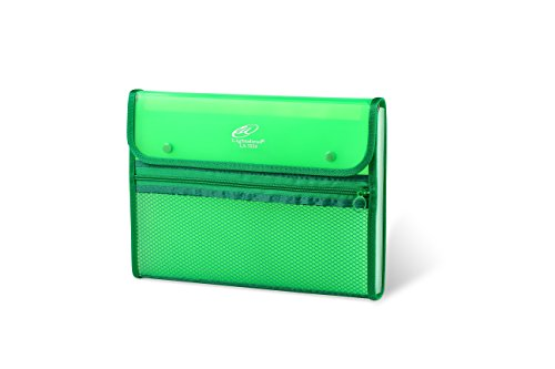 Lightahead LA-7553 Expanding File Folder with 13 pockets, with mesh bag and zipper Available in Colors Green, Pink (GREEN)