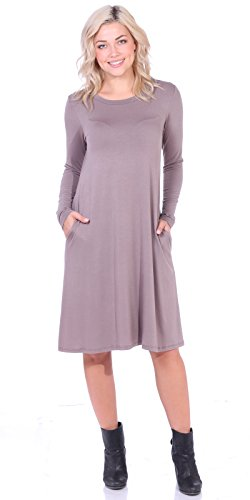 Popana Women's Casual Long Sleeve Loose Fit Dress Pockets Plus Size Made in USA 3X - Kosher Toffee