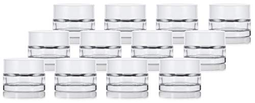 Clear Glass 0.25 oz Thick Wall Balm Jars with White Foam Lined Smooth Lids (12 pack) ()