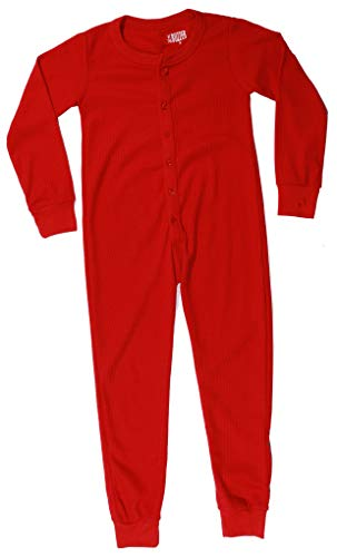 At The Buzzer Thermal Union Suits for Boys 7373-RED-10-12 -